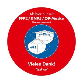 Pegatina para exterior «Llevar mascarilla FFP2 / KN95 / quirúrgica»
