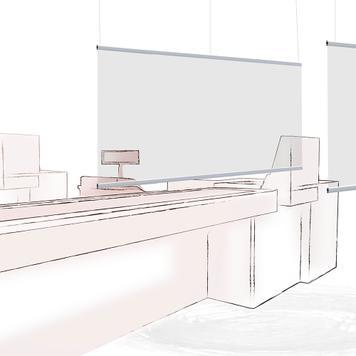Separador colgante con pantalla transparente