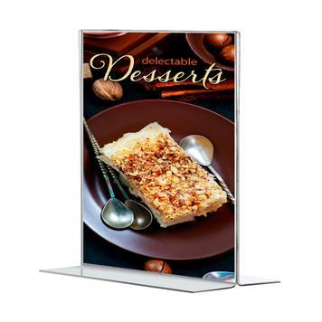 "Portacartel de sobremesa ""T-Form"" en formatos DIN, transparente, 2 mm"