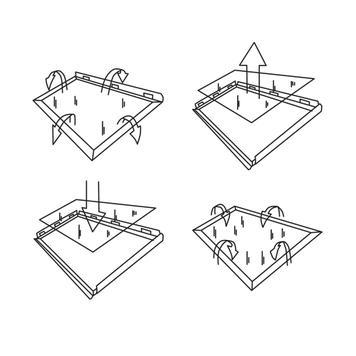 Marco clic,  perfil de 25 mm, anodizado de plata, techos ingleteados / circulares